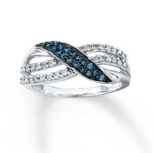 Blue & White Diamond Ring 1/3 ct tw 10K Gold